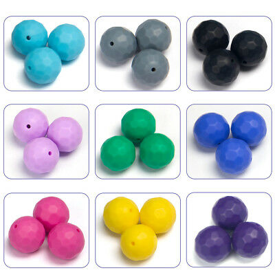 10Pcs Faceted Silicone Teething Beads DIY Baby Chewable Teether Jewellery Making