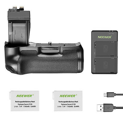 Neewer BG-E8 Replacement Battery Grip +2X 1140 mAh battery + charger for canon