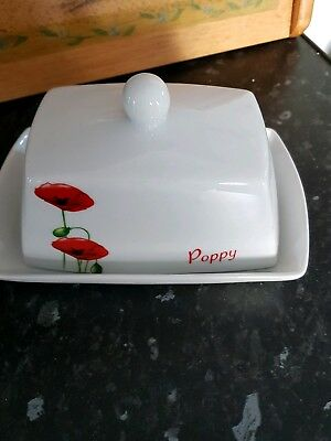 Red poppy butter dish