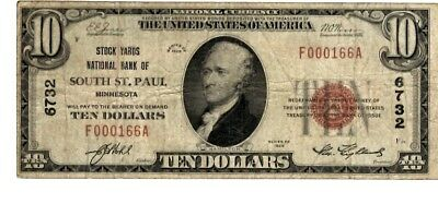 1929 $10 National Bank Note - THE STOCKYARDS South St Paul MN *rare* (LN-5)