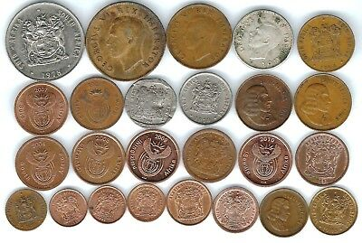 25 different world coins from SOUTH AFRICA some silver