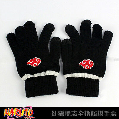 Anime Naruto Red Cloud Full Finger Plush Glove Cosplay Mitten Screen Touchable A