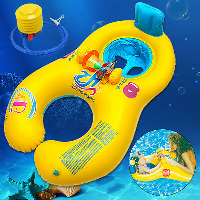 Inflatable Mother Baby Kids Float Raft Seat Summer Swim Beach Pool Toy Ring   AU