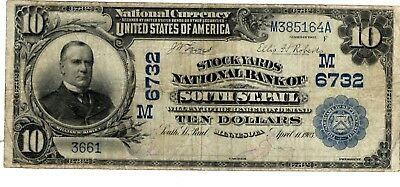 1902 $10 National Bank Note THE STOCKYARDS South St Paul MN Large Bill (LN-9)