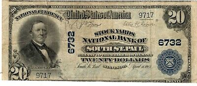 1902 $20 National Bank Note THE STOCKYARDS South St Paul MN Large Bill (LN-8)