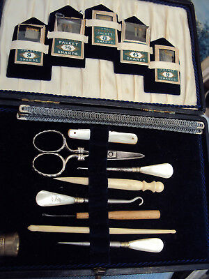 Antique Sewing Kit Mother of Pearl Handles James Swann & Son Silver Thimble 1924