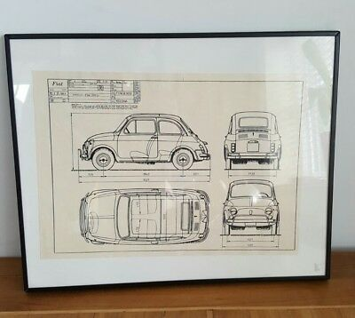 fiat 500 technical drawing framed picture