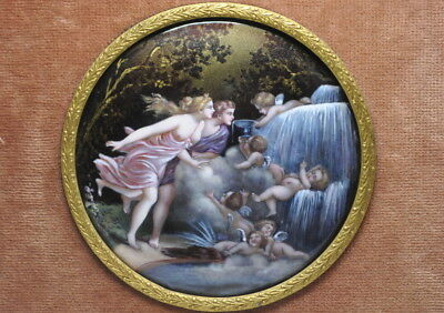 Antique Miniature Limoges Enamel Circle Plaque Lovers and Cupids