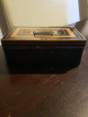 Antique Vintage Old Tin Metal Cash Box 'Chad Valley'English No. 10017