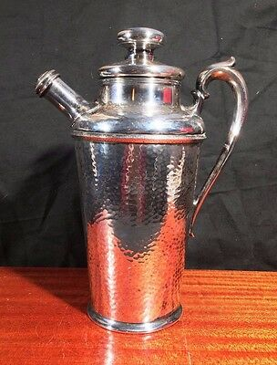 MAGNIFICENT Antique Rogers COCKTAIL SHAKER Hand Hammered HUGE 48 oz Silver Plate