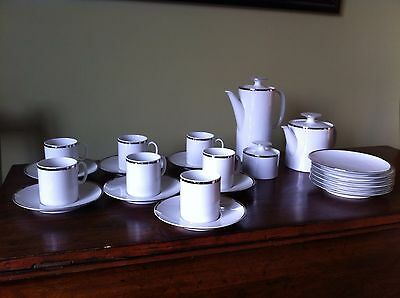 23 Piece Thomas Fine China Dinner Service White with Silver Band