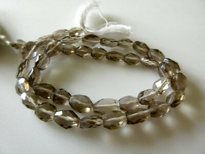 Natural Smoky Quartz Faceted Oval Tumbles 8mm Each Approx 14 Inch Strand GDS449