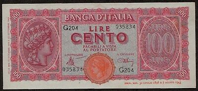 Italy 100 Lire Banknote 1944 – Pick 75a: aUNC