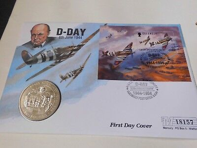 Guernsey 1994 D-Day Anniversary Coin + Stamps Fdc  £2 Coin