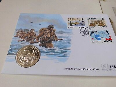 Alderney 1994 D-Day Anniversary Coin + Stamps Fdc  £2 Coin