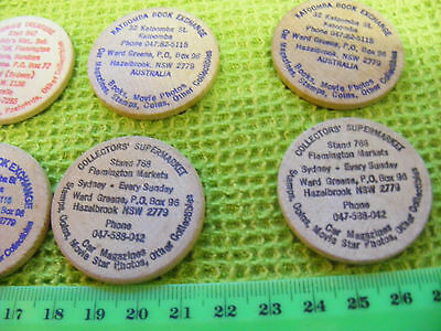 Lot of 8  (6  diff) Sydney,Australia Wooden Tokens,1980s.