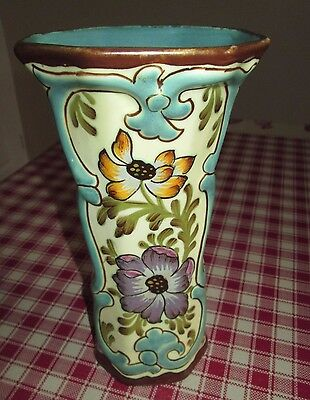 Collectable Vintage Tall Floral Royal Plazuid Vase - Made In Holland