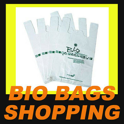 DEGRADABLE BIO PLASTIC SINGLET SHOPPING CARRY 600 BAGS 250x500mm AUSTRALIA  NEW