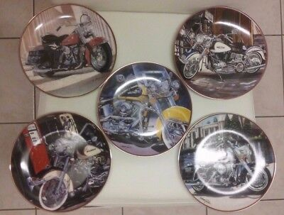 Franklin Mint Harley Davidson Collector Plates Set of  5 - Limited Edition - EXC
