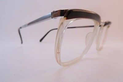Vintage 50s steel eyeglasses frames acetate lens surrounds France men's medium