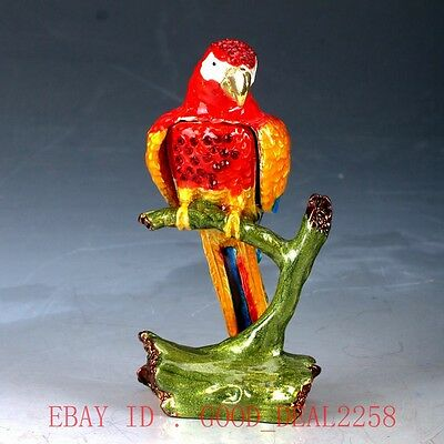 Chinese Cloisonne Hand Painted Parrot Statue Box JTL026