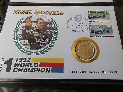 Isle Of Man 1992 Nigel Mansell £2 Coin + Stamps  Fdc