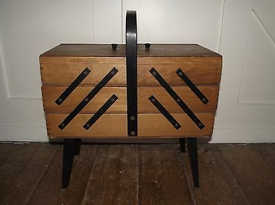 Fab Vintage Cantilever 3 Tier Wooden Sewing Box on Legs