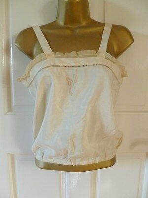 VINTAGE ANTIQUE 1930S CREAM COTTON CAMISOLE TOP LACE + EMBROIDERY Sz 8-10