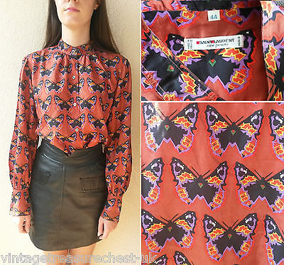 vintage SAINT LAURENT YSL butterfly print pattern 100% silk blouse shirt