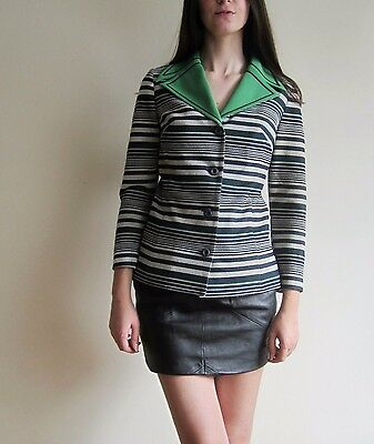 vtg 60's 70's LEROSE striped green wide collar jacket blazer S
