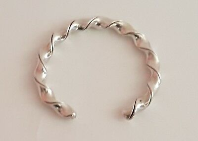 Mexico Taxco sterling silver Cuff bracelet with slow twist signed