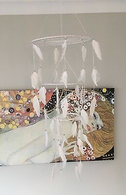 Silver And White Dream Catcher Mobile