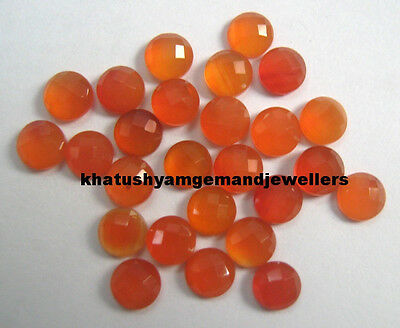 AAA Quality 25 Pc Natural Carnelian 7 mm Round Checker Cabochon Loose Gemstone