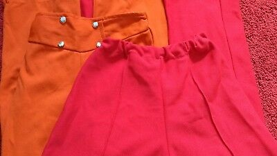 VINTAGE Girls trousers age 6-7 red & orange 60s 70s