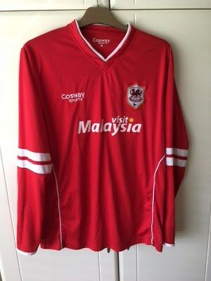 Cardiff City Football Shirt - Red Long Sleeve - Medium Adults