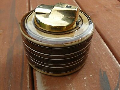 Vintage Jersey Cigarette Lighter in Pottery Base Table Top 8cm in diameter