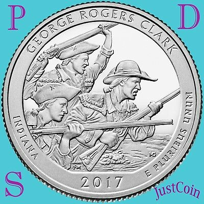 2017 Pds George Rogers Clark National Park Three Quarters Set Uncirculated