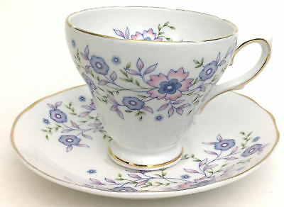 Avon Blue Blossoms Footed Cup and Saucer Fine Bone China