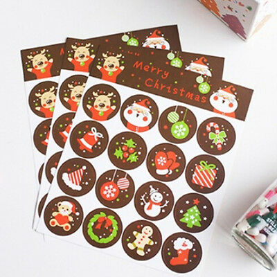 160x Merry Christmas Badge Sticker Envelope Seal Gifts Food Wrapping Stickers HG