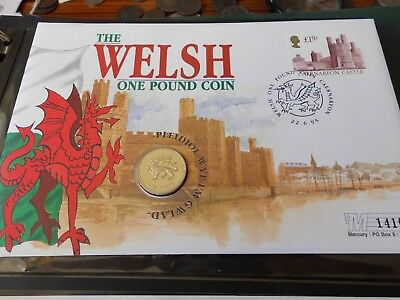 Royal Mint Welsh Dragon 1995 £1 Coin + Stamps  Fdc