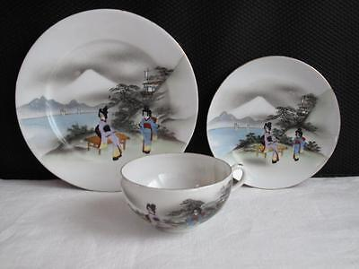 Antique Japanese Eggshell Export Ware Porcelain Trio Hand Painted Cup Saucer Pla