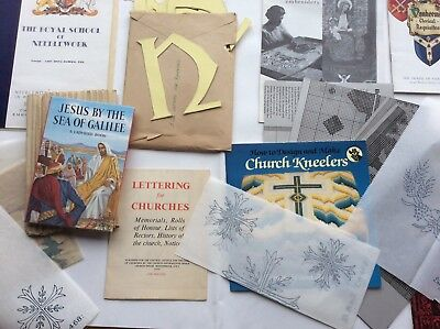 Group Of Church embroidery Items, Transfers, Magazines, Books, Templates Etc.