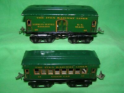 **** 2 Prewar Ives Railway Line Cars ****** Use W/ Lionel Prewar Trains