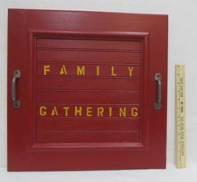 Re Purposed Cabinet Door Red Paint Family Gathering 2 Handles Wall Hanging Tray