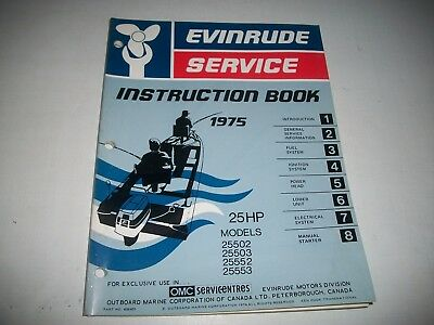 1975 Evinrude ( Johnson) Outboard 25 Hp  Service Shop Repair Instruction Manual