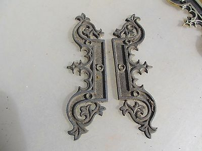 Victorian Brass Faux Hinges Church Hardware Gothic Gilt Ormolu Antiques Vintage