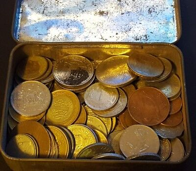 old tin of coins A