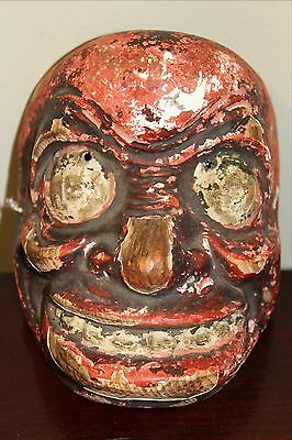 JAPANESE NOH MASK,  Ancient, Hand Carved Wood