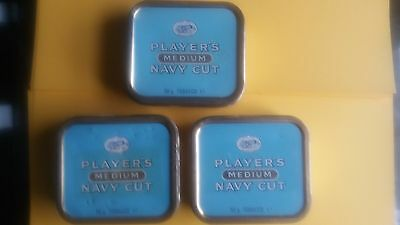 3 x Vintage players navy cut tobacco tins