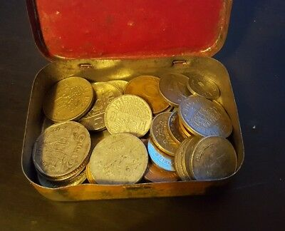 old tin of coins F